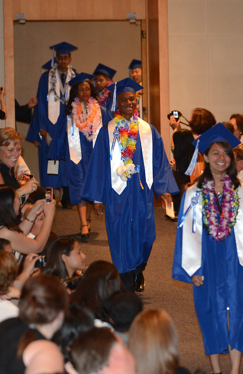 . Long Beach, Calif., -- 06-12-13- California Academy of Math and Sciences class of 2013 walk inside the Millikan High School Auditorium for the CAMS Twentieth Graduation Exercise Wednesday June 12, 2013.     Stephen Carr/  Los Angeles Newspaper Group