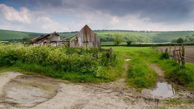 Derelict barn on a Wiltshire farm