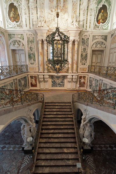 Looking down the grand staircase at Augustusburg Palace, Bruhl, Germany
