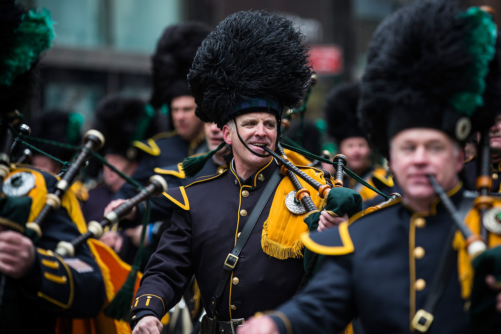 . Bagpipers march in the annual St. Patrick\'s Day Parade along Fifth Ave in Manhattan on March 17, 2014 in New York City.  (Photo by Andrew Burton/Getty Images)