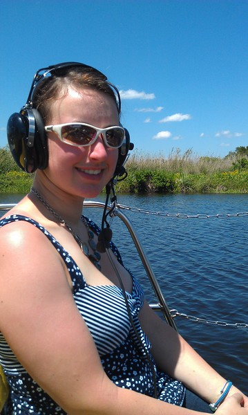 Ellen in an airboat