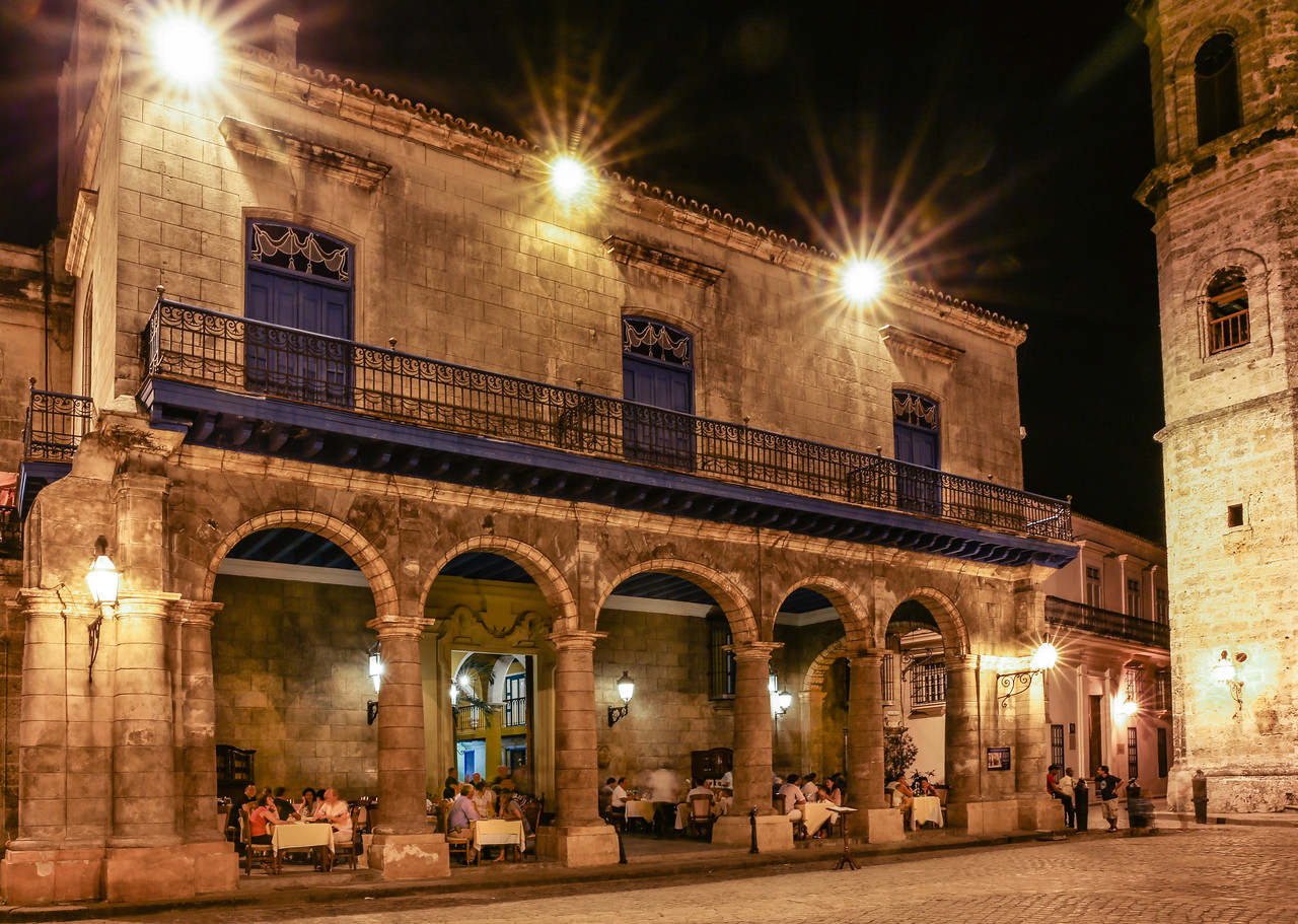 Old Habana Cathedral Square at Night