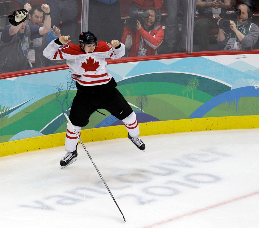 . Canada\'s Sidney Crosby leaps in the air after scoring the game-winning goal in the overtime period of the men\'s gold medal ice hockey game against team USA at the Vancouver 2010 Olympics in Vancouver, British Columbia. Hockey Canada announced its 25-man hockey roster, loaded with NHL stars,  for the Winter Olympics on Tuesday, Jan. 7, 2014, and Sid the Kid is going to have plenty of help. Joining Crosby, who scored the gold-medal winning goal in 2010 against the U.S., will be Jamie Benn, Patrice Bergeron, Jeff Carter, Matt Duchene, Ryan Getzlaf, Chris Kunitz, Patrick Marleau, Rick Nash, Corey Perry, Patrick Sharp, Steven Stamkos, John Tavares and Jonathan Toews. (AP Photo/Chris O\'Meara, File)