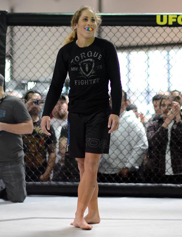 . UFC fighter Liz Carmouche during an open workout at the UFC Gym in Torrance, CA Wednesday, February 20, 2013. (Hans Gutknecht/Staff Photographer)