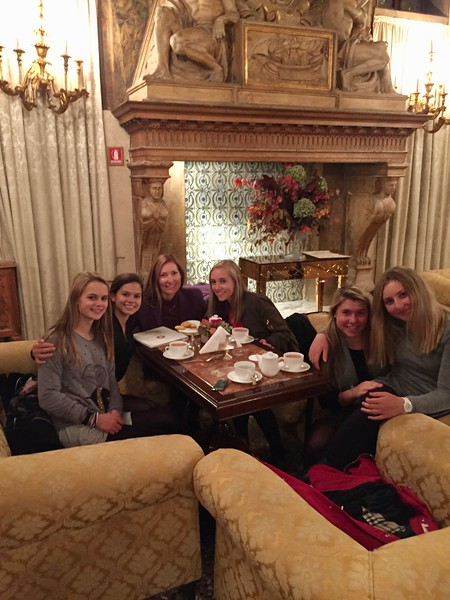 Ms. Brouillac's advisory enjoying hot chocolate at Hotel Danieli in Venice