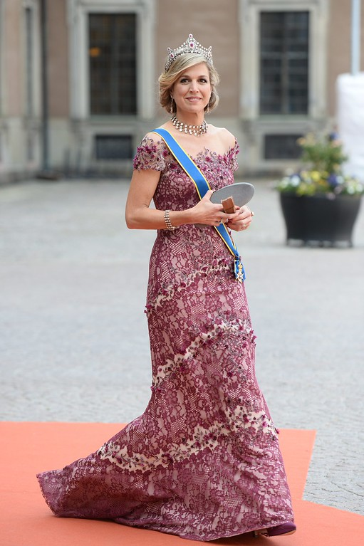 . Queen Maxima of the Netherlands attends the wedding of Prince Carl Philip and Sofia Hellqvist at the Royal Chapel in Stockholm, Sweden, Saturday June 13, 2015. (Fredrik Sandberg/TT News Agency via AP)