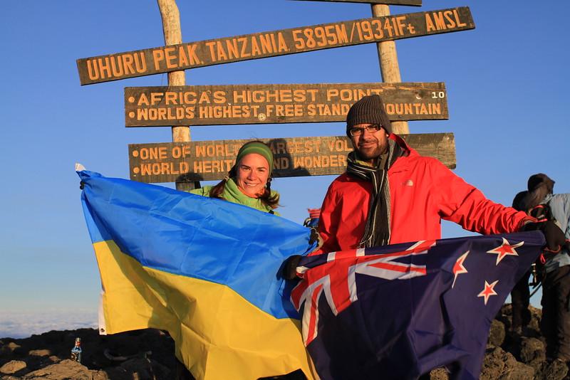 New Zealand - Ukrainian union at the top of Kilimanjaro