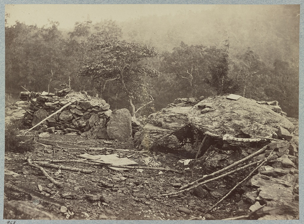 . Battle-field of Gettysburg. Temporary entrenchments thrown up by the Federal troops on Little Round Top. Big Round Top in the background. (O\'Sullivan, Timothy H., 1840-1882, photographer)  - Library of Congress Prints and Photographs Division Washington, D.C.