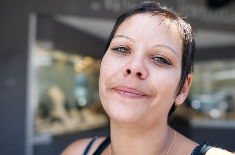 Attractive Aboriginal Woman with Short Brown Hair