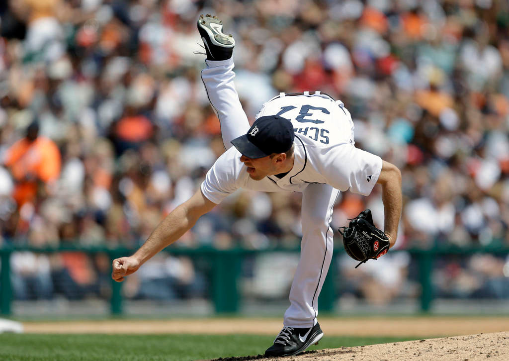 . Detroit Tigers starting pitcher Max Scherzer throws during the fourth inning of a baseball game against the Minnesota Twins. Scherzer pitched six innings, allowed a run and three hits in improving to 7-0. He struck out six and walked three. (AP Photo/Carlos Osorio)