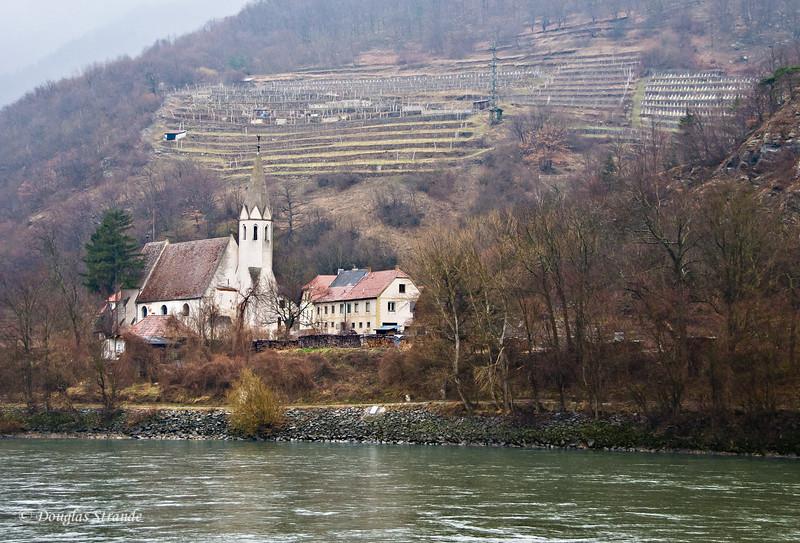 Wachau Valley on the Danube River: Church and terraced vineyard