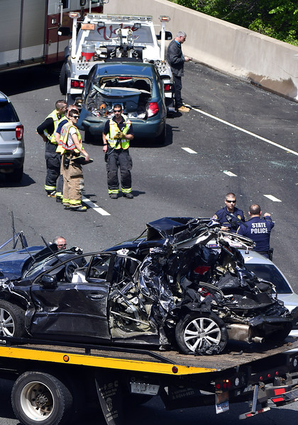 5/15/2019 Mike Orazzi   Staff The scene of a multi-vehicle crash on I84 Eastbound in Southington on Wednesday afternoon.