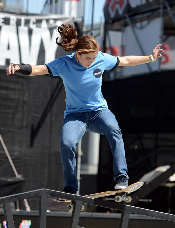 . Rachel Reinhard competes during the  X Games Los Angeles Women\'s Skateboard Street Final at LA Live Thursday, August 1, 2013. (Hans Gutknecht/Los Angeles Daily News)