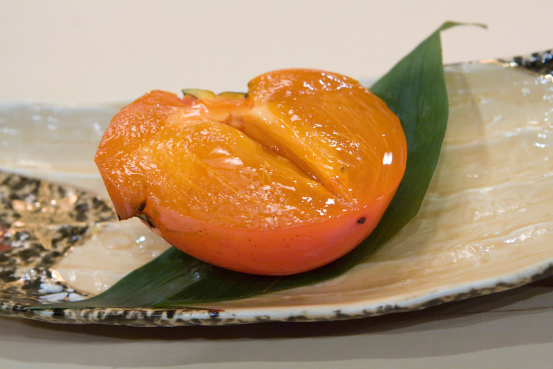 Dessert #1: Ripe and chilled persimmon.