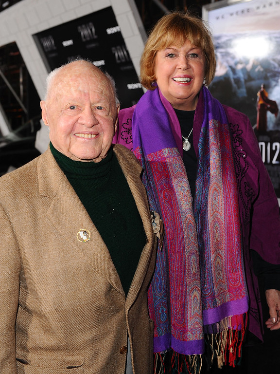 ". Actor Mickey Rooney and wife Jan Rooney arrive at the premiere of Columbia Pictures\' ""2012\"" at the Regal Cinemas LA live on November 3, 2009 in Los Angeles, California.  (Photo by Alberto E. Rodriguez/Getty Images)"