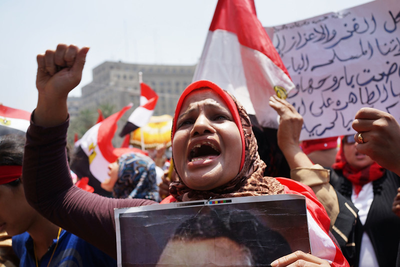 . Hundreds of Egyptian protesters begin to gather in Tahrir Square as the deadline given by the military to Egyptian President Mohammed Morsi approaches on July 3, 2013 in Cairo, Egypt. The president gave a defiant speech last night and vowed to stay in power despite the military threats. As unrest spreads throughout the country, at least 23 people were killed in Cairo on Tuesday and over 200 others were injured.  (Photo by Spencer Platt/Getty Images)