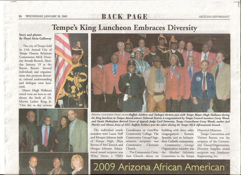 "ARIZONA BUFFALO SOLDIERS, MESA, AZ..""ARIZONA'S TUSKEGEE AIRMEN"".1st: Martin Luther King, Jr.,Buttes Resort,Tempe's King Luncheon Embraces Diversity ""Posting Colors"". 2nd: MLK Festival, Mesa:  January 19, 2009."