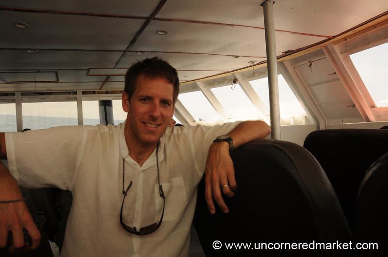 Dan in the Ferry from La Cebia to Utila, Honduras