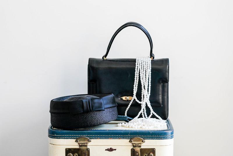 vintage pill box hat, handbag, & costume pearls