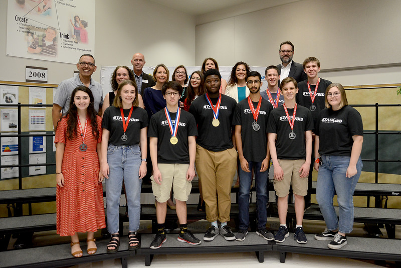 Vista Ridge High School's Static Void robotics team, recognized for advancing to the FIRST Robotics World competition in the FTC division.