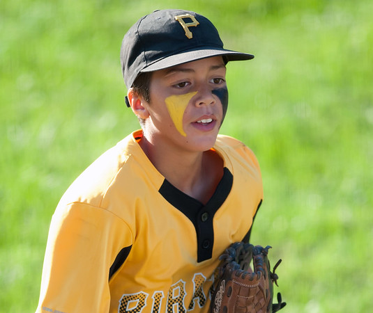 08/23/18 Wesley Bunnell | Staff The Forestville Pirates vs the Edgewood Cubs in the Bristol Little League City Series on Thursday evening at Frazier Field. Gabe Paghense (4)