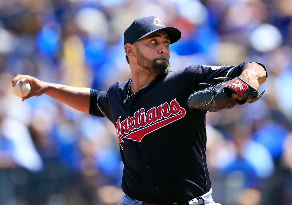 . Cleveland Indians starting pitcher Danny Salazar delivers to a Kansas City Royals batter during the first inning of a baseball game at Kauffman Stadium in Kansas City, Mo., Sunday, Aug. 20, 2017. (AP Photo/Orlin Wagner)