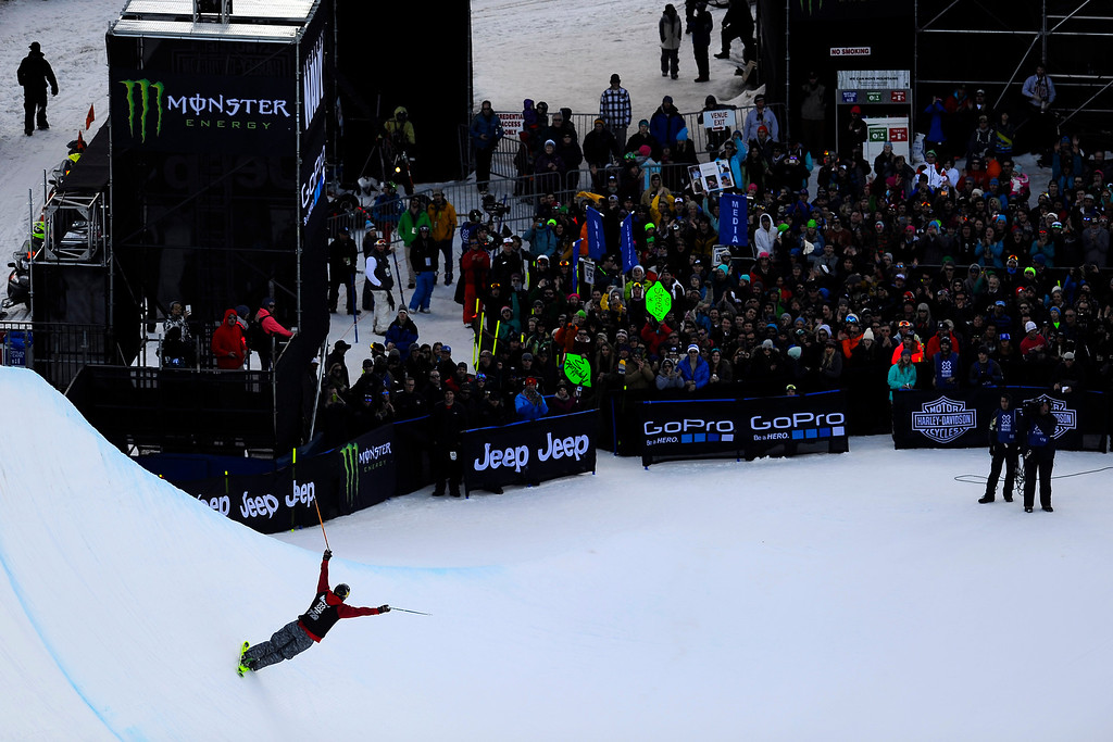 . ASPEN, CO. - JANUARY 25: Local skier Alex Ferreira takes the bronze at Ski Superpipe Men\'s Finals at Winter X Games 2015, Sunday, January 25.  (Photo By Mahala Gaylord/The Denver Post)