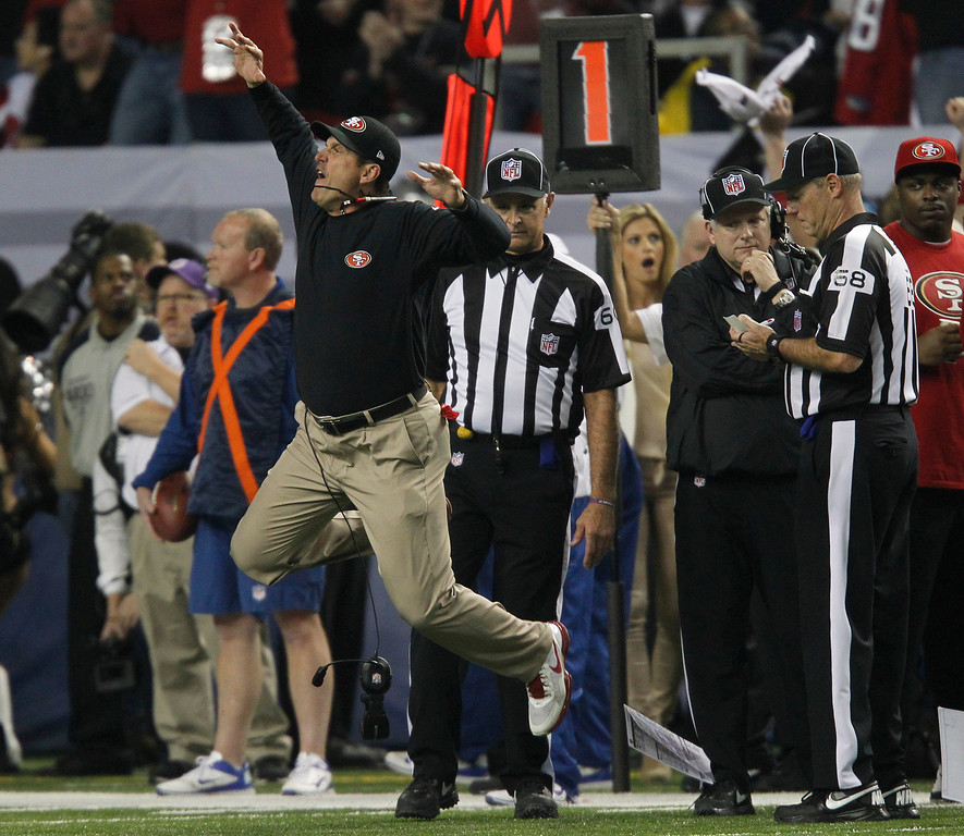 . San Francisco 49ers coach Jim Harbaugh reacts to a reviewed play of an Atlanta Falcons pass reception in the fourth quarter of the NFC Championship game on Sunday, Jan. 20, 2013, at the Georgia Dome in Atlanta. (Jim Gensheimer/Staff)