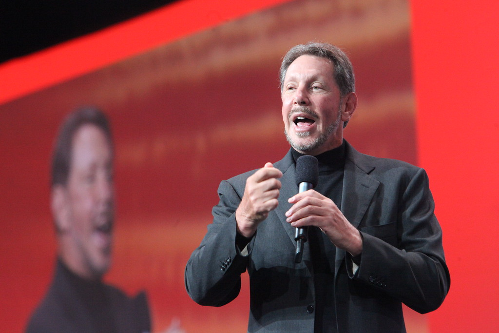 . Oracle CEO Larry Ellison speaks to thousands during Oracle World in San Francisco Wednesday, Sept. 22, 2010. (Maria J. Avila Lopez/Bay Area News Group Archives)
