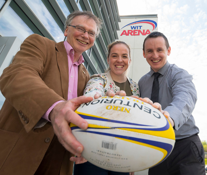 18/04/2017. Pictured at The WIT Arena at the augural WIT Arena Sporting Ambassador. Pictured is Niamh Briggs WIT Arena Sporting Ambassador with Prof. Willie Donnelly President of WIT and John Windle WIT Arena Manager. Picture: Patrick Browne