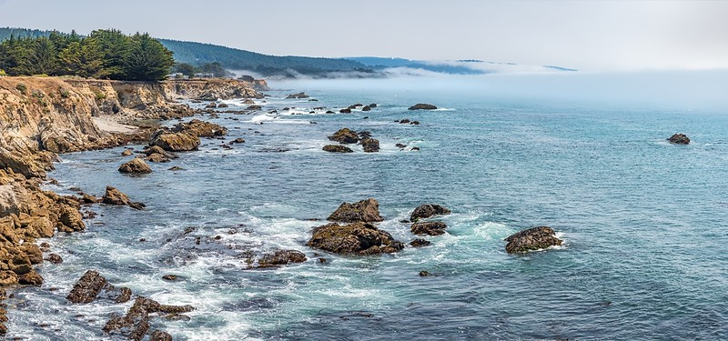 Panoramic Ocean View with Fog