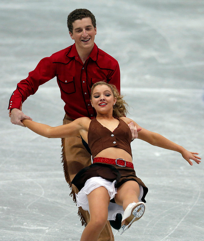 . Danielle Obrien and Gregory Merriman of Australia perform during the ice dance short dance event at the ISU Four Continents Figure Skating Championships in Osaka, western Japan, Friday, Feb. 8, 2013. (AP Photo/Shizuo Kambayashi)