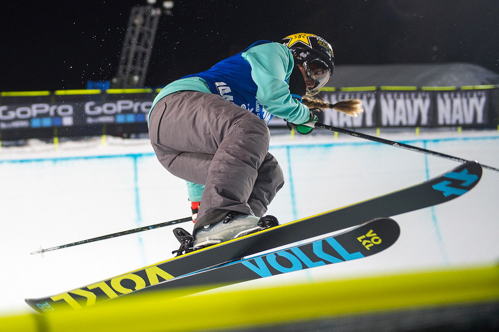 . ASPEN, CO - JANUARY 29: Maddie Bowman #744 of the United States competes in her final run of the women\'s ski halfpipe at Winter X Games 2016 Aspen at Buttermilk Mountain on January 29, 2016, in Aspen, Colorado. Bowman won her fourth consecutive medal in halfpipe at X Games. (Photo by Daniel Petty/The Denver Post)