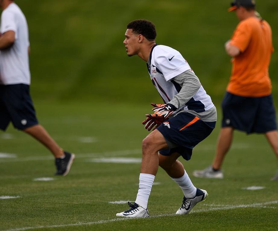 . Denver Broncos Justin Simmons (31) runs through drills during rookie minicamp May 6, 2016 at UCHealth Training Facility. (Photo By John Leyba/The Denver Post)