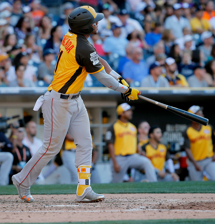 . World Team\'s Yoan Moncada, of the Boston Red Sox, follows through on a two-run home run against the U.S. Team during the eighth inning of the All-Star Futures baseball game, Sunday, July 10, 2016, in San Diego. (AP Photo/Lenny Ignelzi)