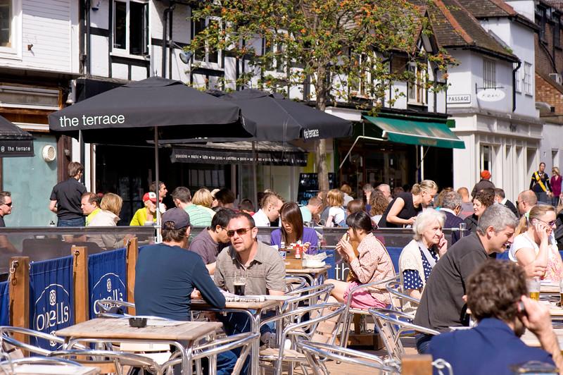 Alfresco dining and drinking on Apple Market, Kingston upon Thames, Surrey, United Kingdom