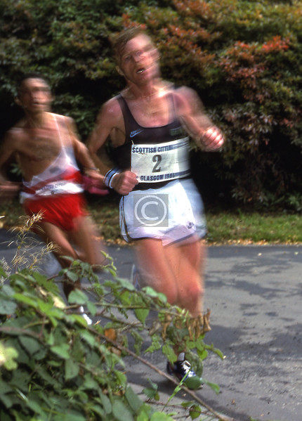 Two of the elite runners in the1986 Glasgow Marathon, in Pollok Park