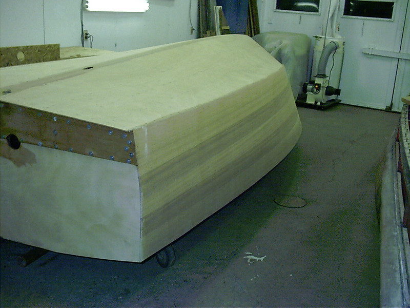 Port rear view of sanded side planking.