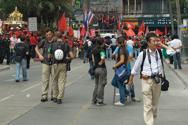 Media folks and photographers during the Red Shirt Protest in Thailand