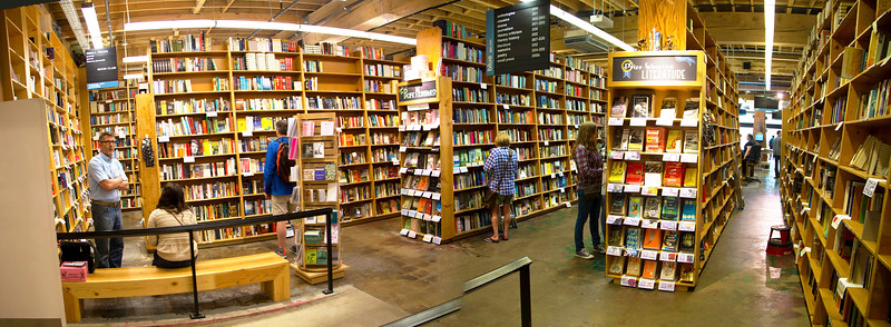 Powell's bookstore panorama of just one small portion ...