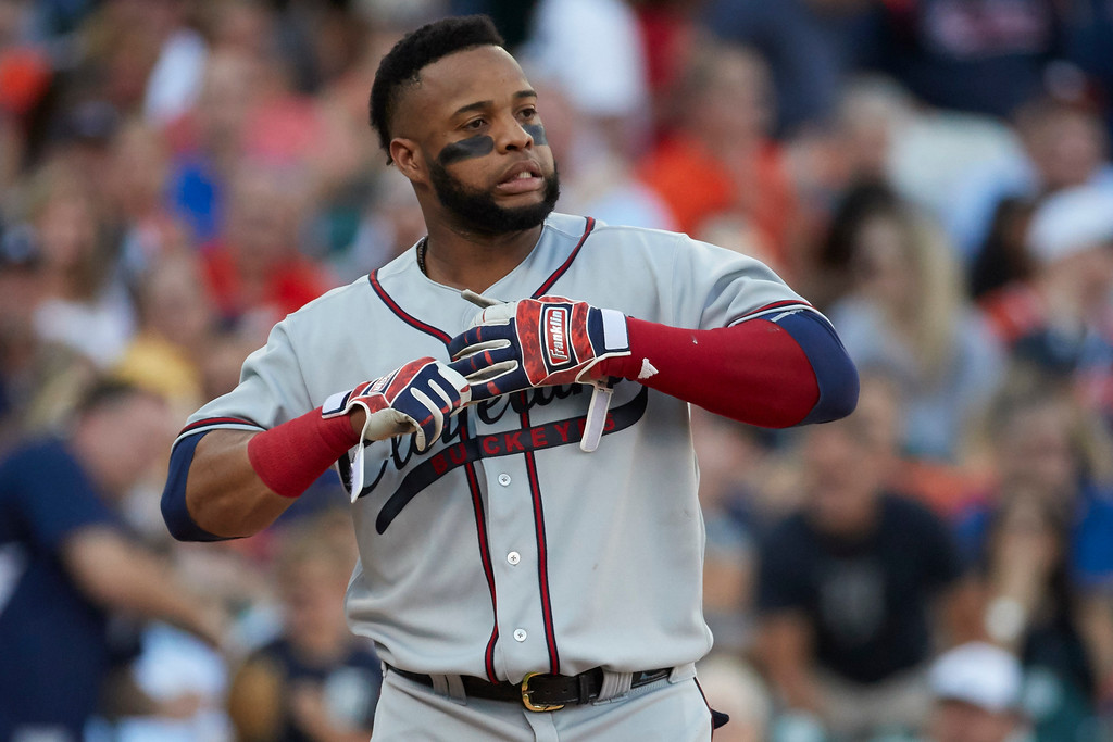 . Cleveland Indians Carlos Santana reacts after striking out against the Detroit Tigers during the second inning in the second baseball game of a doubleheader in Detroit, Saturday, July 1, 2017. (AP Photo/Rick Osentoski)