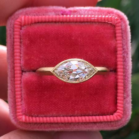 1.10ct Antique marquise Cut Diamond Bezel Ring GIA L, VVS2