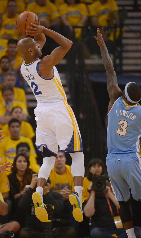 . OAKLAND, CA - APRIL 28:Jarrett Jack (2) of the Golden State Warriors takes a shot over Ty Lawson (3) of the Denver Nuggets during th efirst quarter in Game 3 of the first round NBA Playoffs April 28, 2013 at Oracle Arena. (Photo By John Leyba/The Denver Post)