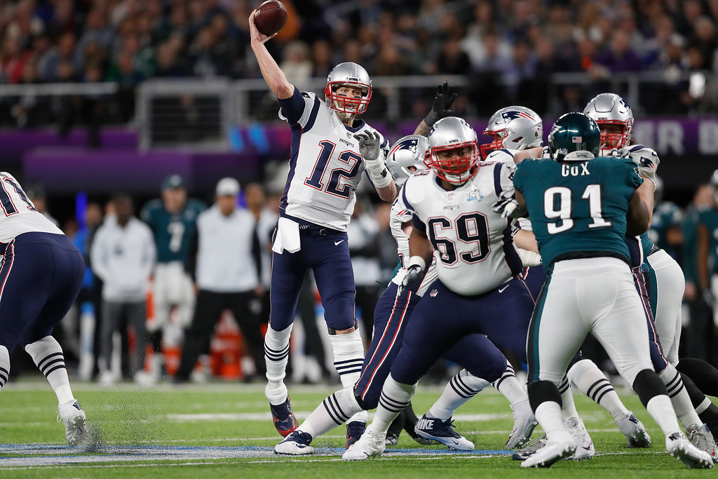 . New England Patriots\' Tom Brady passes during the first half of the NFL Super Bowl 52 football game against the Philadelphia Eagles Sunday, Feb. 4, 2018, in Minneapolis. (AP Photo/Jeff Roberson)