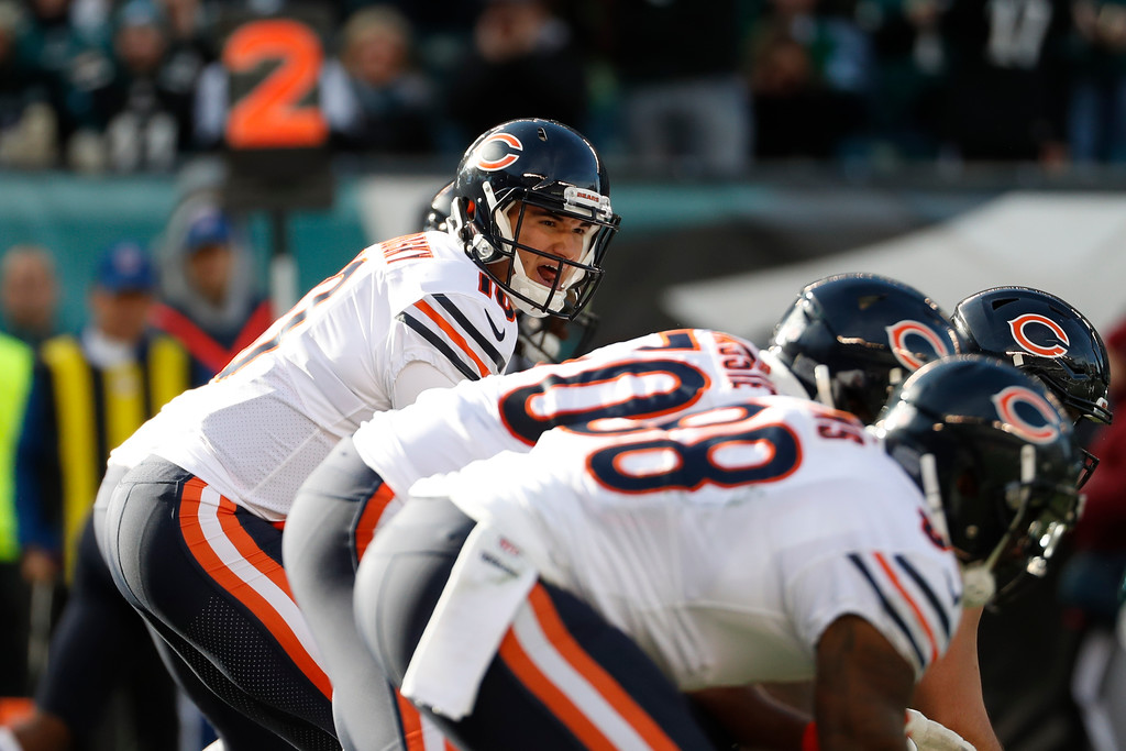 . Chicago Bears\' Mitchell Trubisky yells to his team during the first half of an NFL football game against the Philadelphia Eagles, Sunday, Nov. 26, 2017, in Philadelphia. (AP Photo/Chris Szagola)