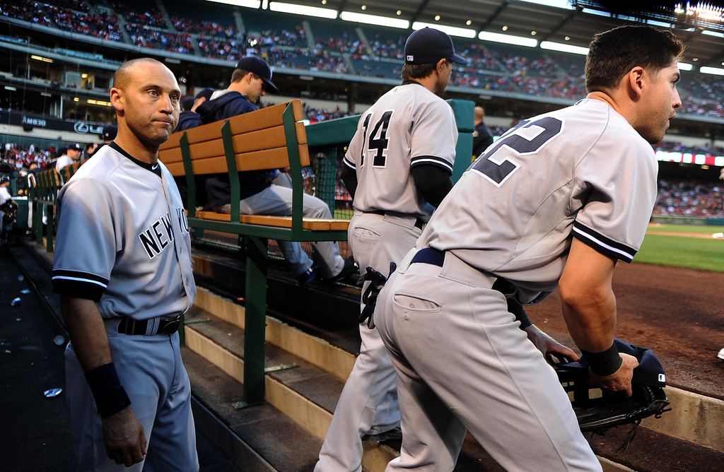 . New York Yankees shortstop Derek Jeter prepares to run out to his position in the first inning of a baseball game against the Los Angeles Angels at Anaheim Stadium in Anaheim, Calif., on Tuesday, May 6, 2014.  (Keith Birmingham Pasadena Star-News)