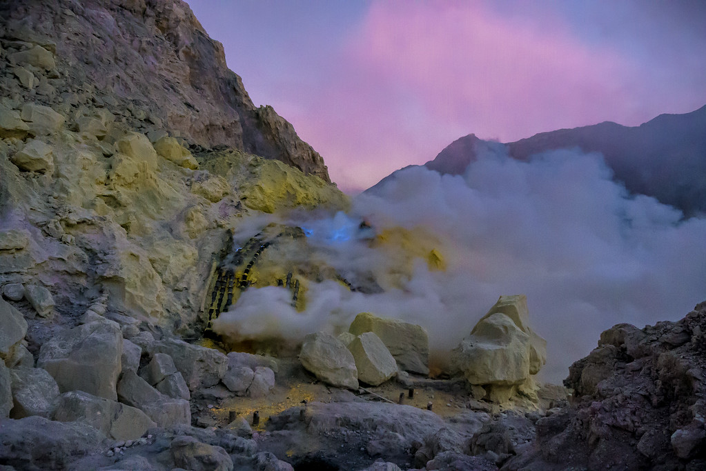 Kawah Ijen blue flames and sulfur