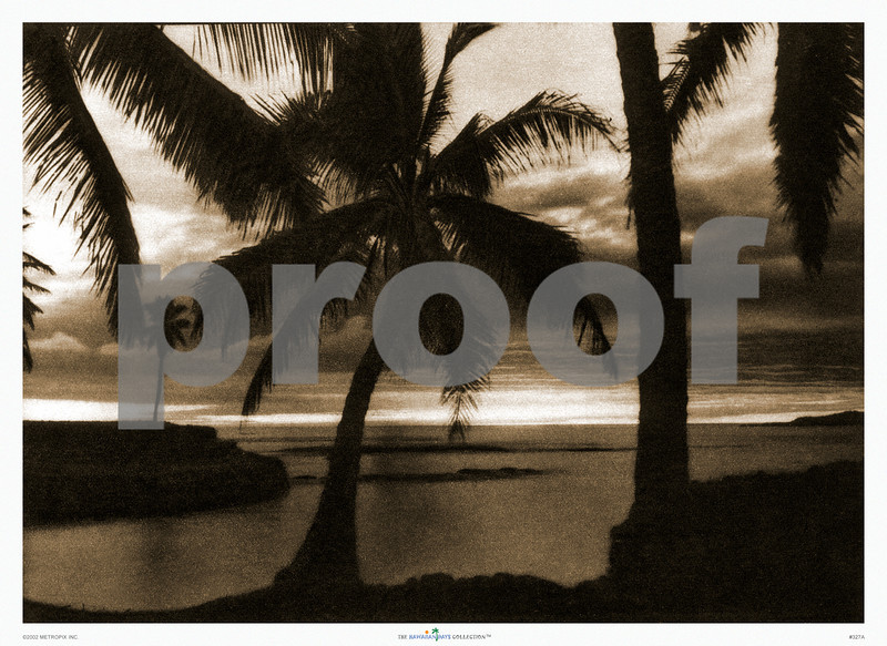 327: 'Hawaiian Beach Scene' From a sepia-toned photograph. Ca. 1926. (PROOF watermark will not appear on your print)