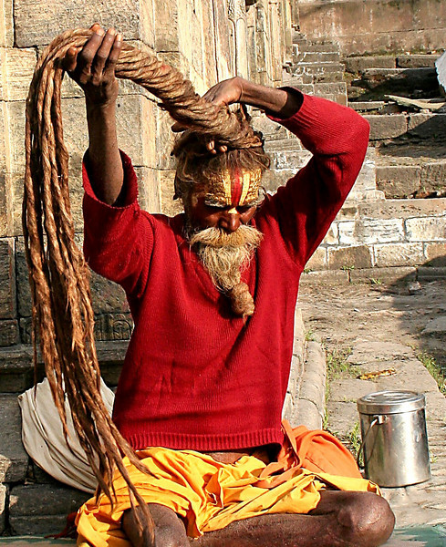 Bad hair day.  Hindu Sadhu (Holy Man) at the Pashupatinath Temple in Kathmandu, Nepal.