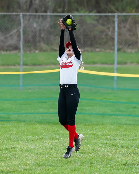 Brookside Sarah Torres goes up high to make the catch against Wellington Wednesday April 17.  photo Joe Colon